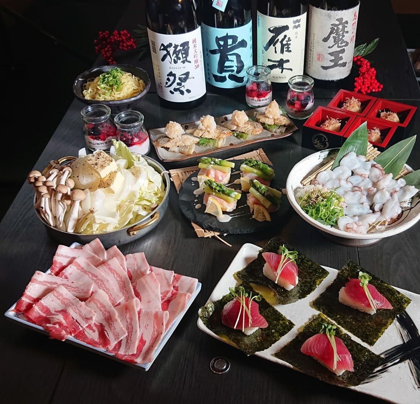 【2/25~】「名物!瀬戸内地だこの鉄板焼き」と「生カツオの包み寿司と「鹿野豚とキャベツの塩バター鍋」が付いたコース
