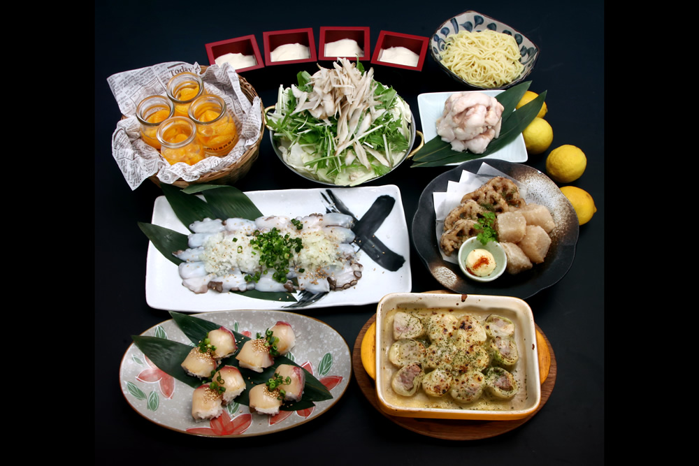 【11/26~】<武蔵名物>瀬戸内地だこの鉄板焼き&ブリのてまり寿司+国産大トロホルモン塩もつ鍋コース